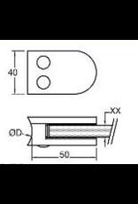 glasklem V2A  50x40mm voor glas 6 - 6.76mm met zekerheidspin