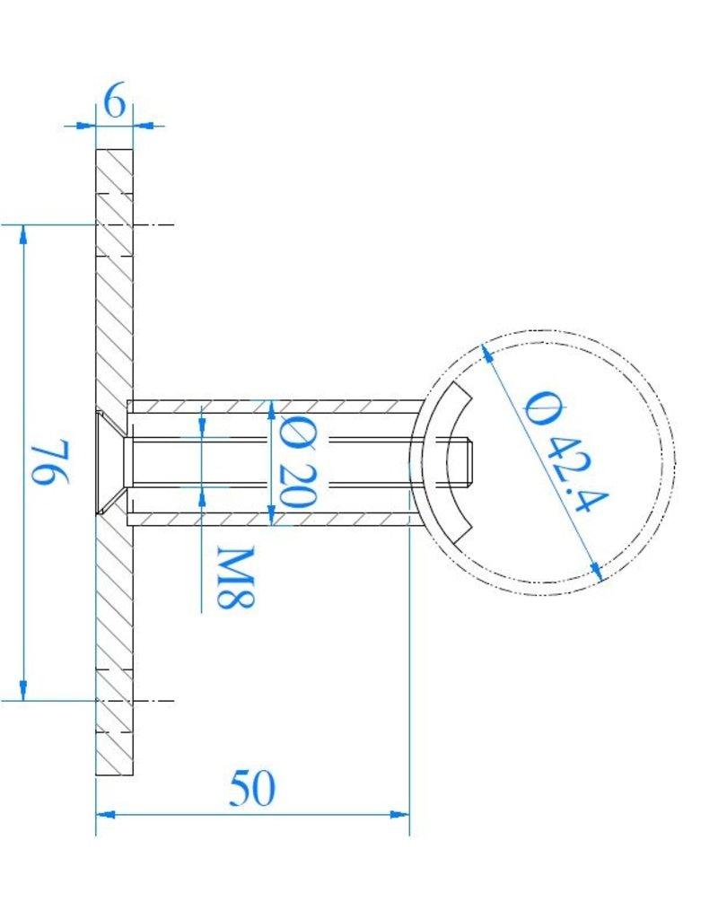Deutsche Metall wandbevestiging V2A - 100x6mm - 42.4mm