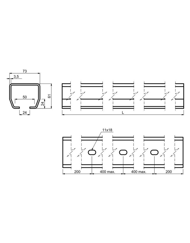 CAIS Rail voor vrijdragende/zelfdragende schuifpoort S tot - 450kg - 4500mm opening