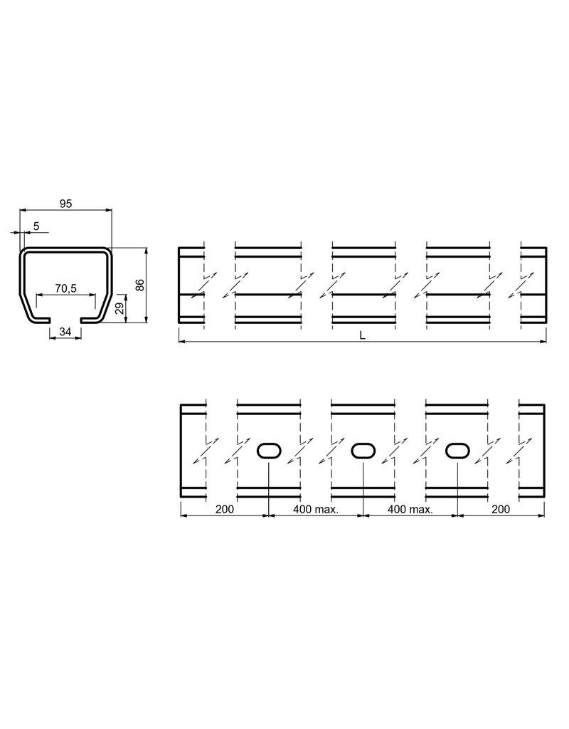 CAIS Rail voor vrijdragende/zelfdragende schuifpoort M tot - 700kg - 8000mm opening