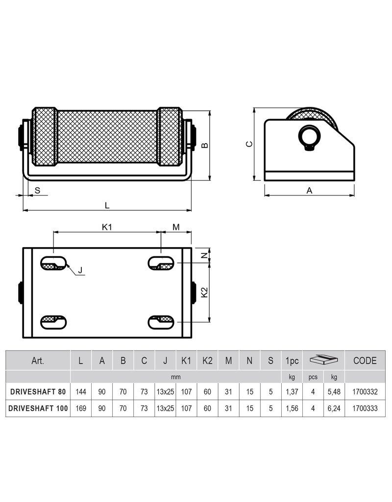 CAIS DRIVESHAFT - Steunrol voor schuifpoort - driveshaft