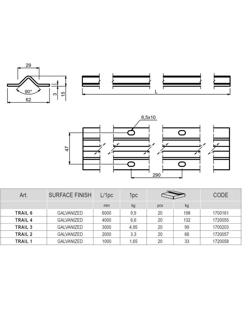 CAIS TRAIL - Rail V profiel - verzinkt