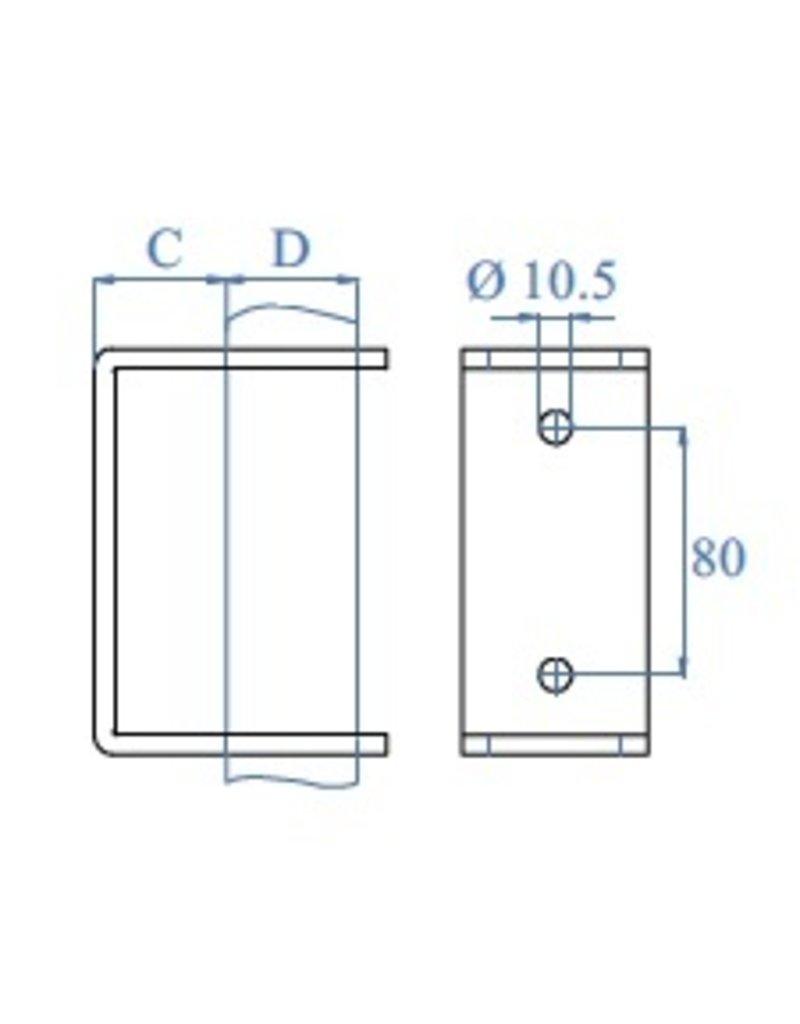 wandbevestiging V2A K320 voor buis Ø42.4mm