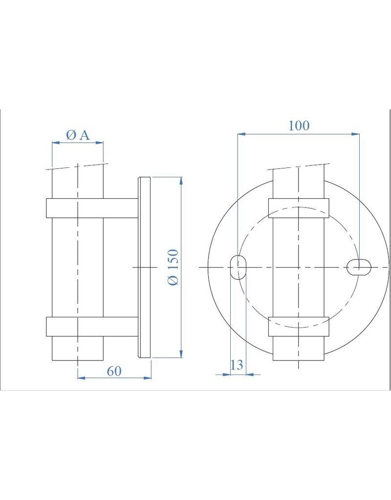 wandbevestiging V2A voor ronde buis 42.4mm