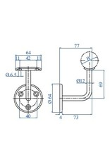 I AM Design Leuningdrager met montageschelp V2A - verzonken boringen