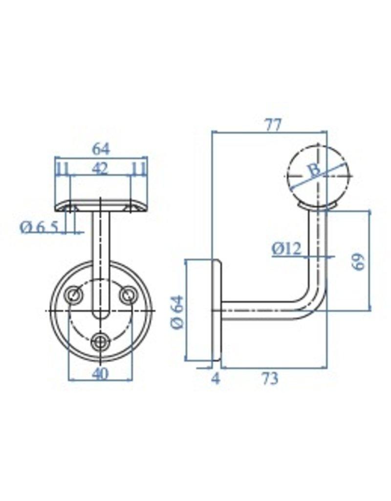 IAM_design Leuningdrager met montageschelp V2A - verzonken boringen