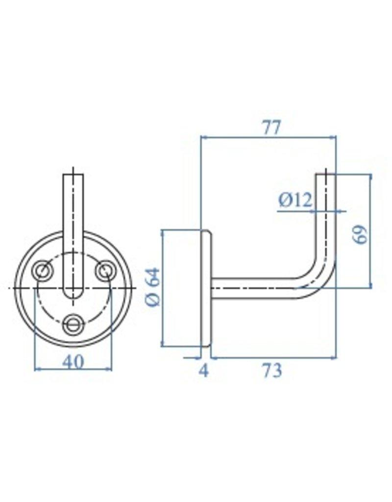 I AM Design Leuningdrager V2A met 3 verzonken boringen lasmodel