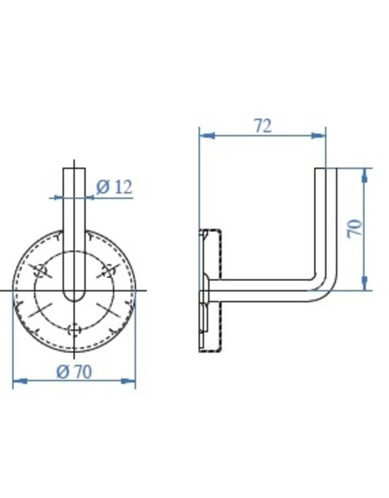 I AM Design Leuningdrager met kliprosette V2A lasmodel