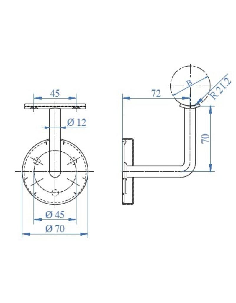 IAM_design Leuningdrager met kliprosette V2A schroefmodel