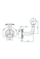 I AM Design Leuningdrager met kliprosette V2A schroefmodel