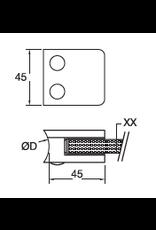 Rinox glasklem V2A- 45x45mm vlakke buis 10 - 10.76mm