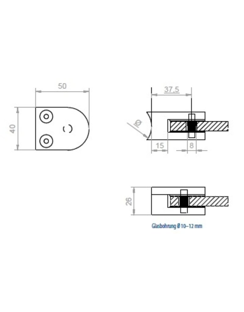 glasklem V2A  50x40mm voor glas 10 - 10.76mm met zekerheidspin