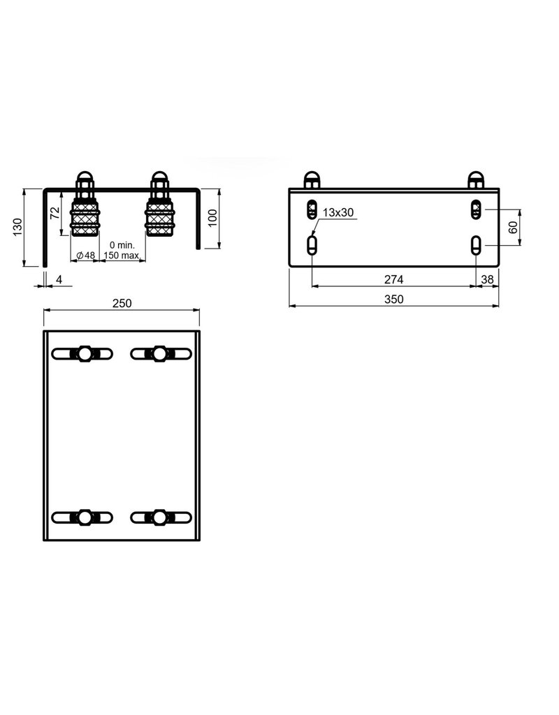 CAIS SFG 4M - verstelbare geleidingsplaat viervoudige rollen met zachte rubberen ring