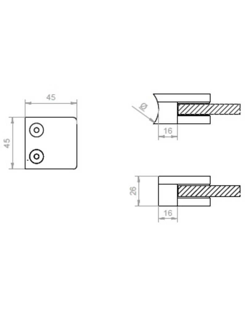glasklem V2A  45x45x26mm voor glas 10 - 10.76mm