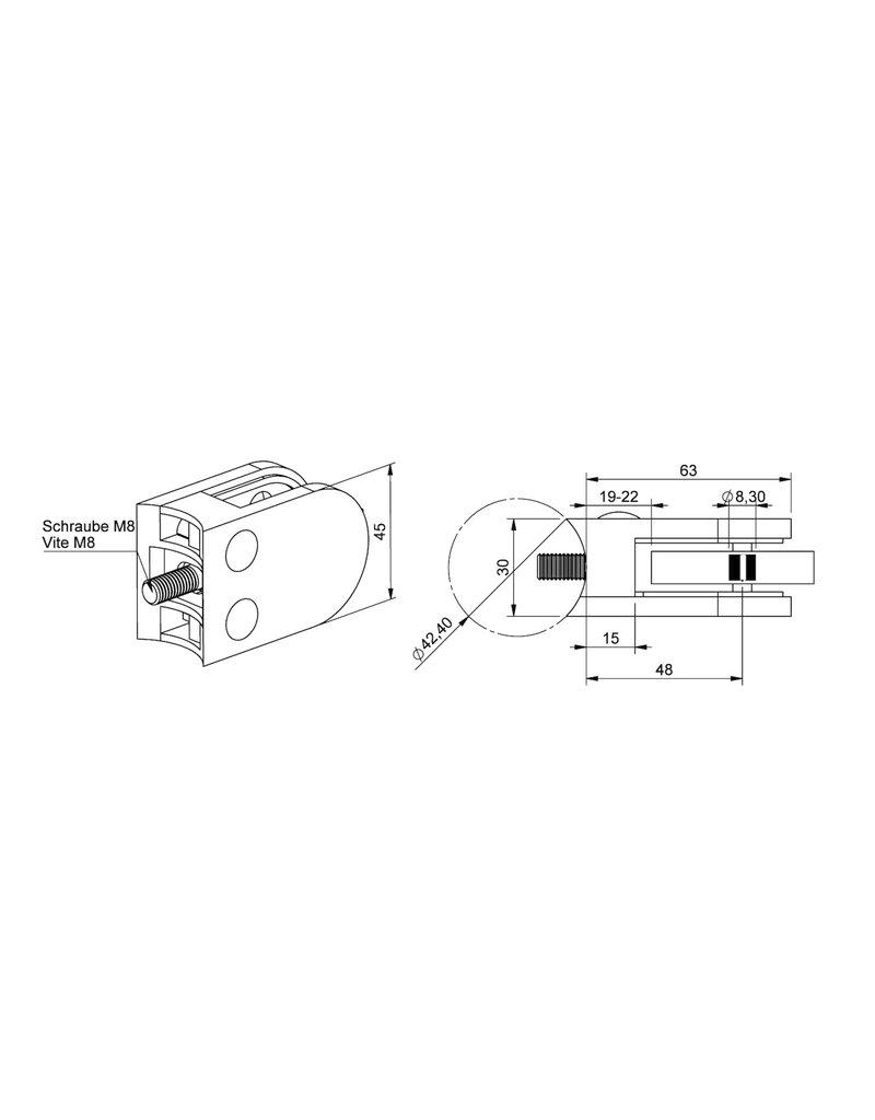 pince à verre brut RVSlook modèle 24 - 63x45x30mm pour verre 8 - 8.76mm