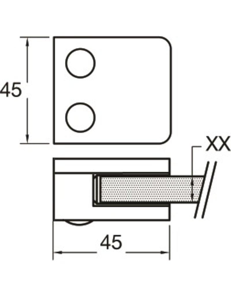 Rinox pince à verre V2A 45x45mm tube plat