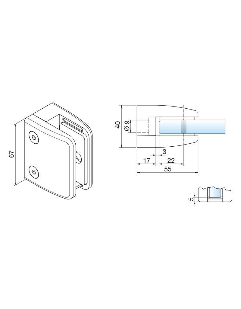 Pauli & Sohn pince à verre zamac - 55x67x40mm pour verre 16.76mm / joints inclus