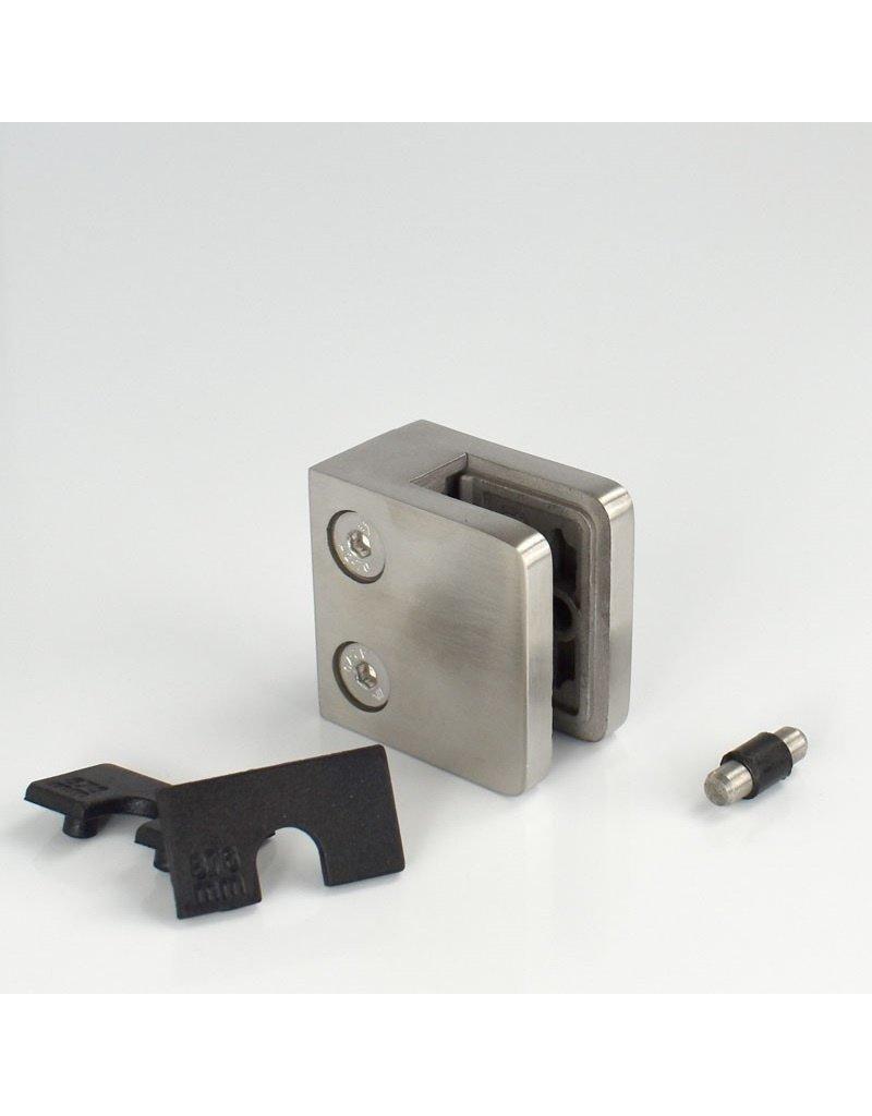 Rinox glasklem V2A- 45x45mm vlakke buis