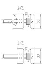 Glashouder V2A Ø 30mm