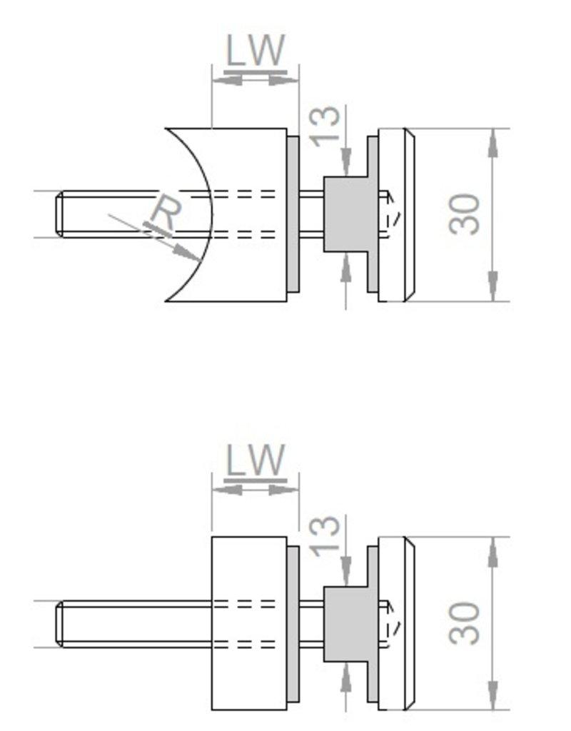 Triebenbacher Glashouder V2A Ø 30mm