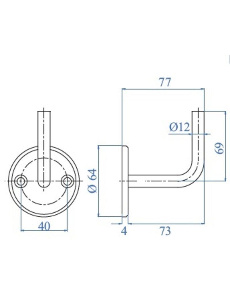 I AM Design Leuningdrager RVS  met 2 verzonken boringen lasmodel