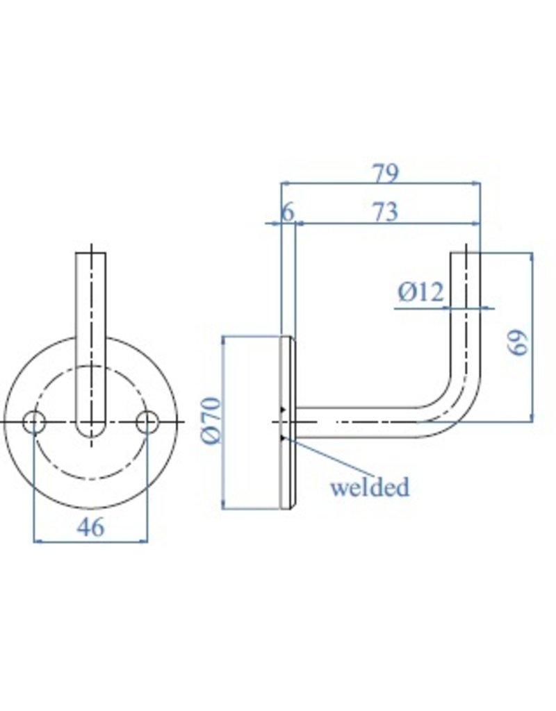 I AM Design leuningdrager staal - 70x6mm