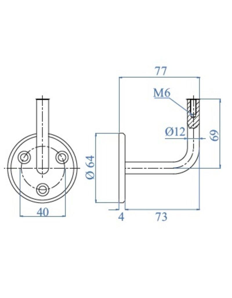 I AM Design Leuningdrager RVS met binnendraad M6 schroefmodel