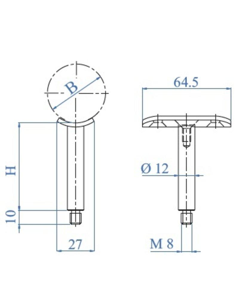 I AM Design Support main courant avec platine inox 33.7-42.4mm