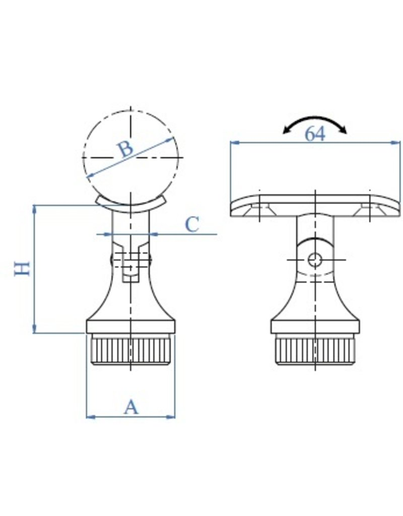 I AM Design Leuningdrager regelbaar RVS  42.4mm