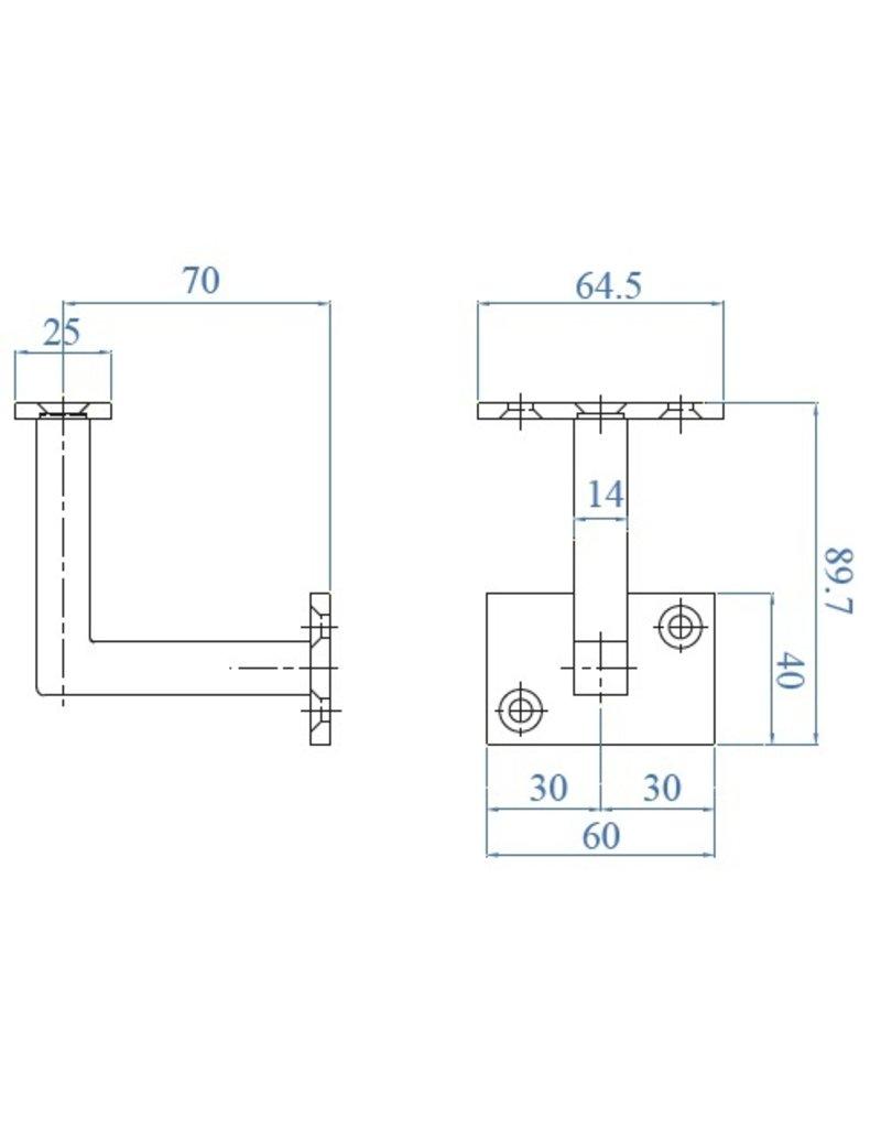 I AM Design Leuningdrager met montageschelp RVS verzonken boringen