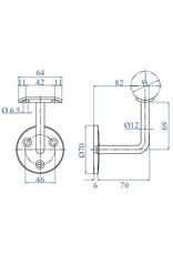 I AM Design Leuningdrager met schelp RVS 33.7 - 42.4mm