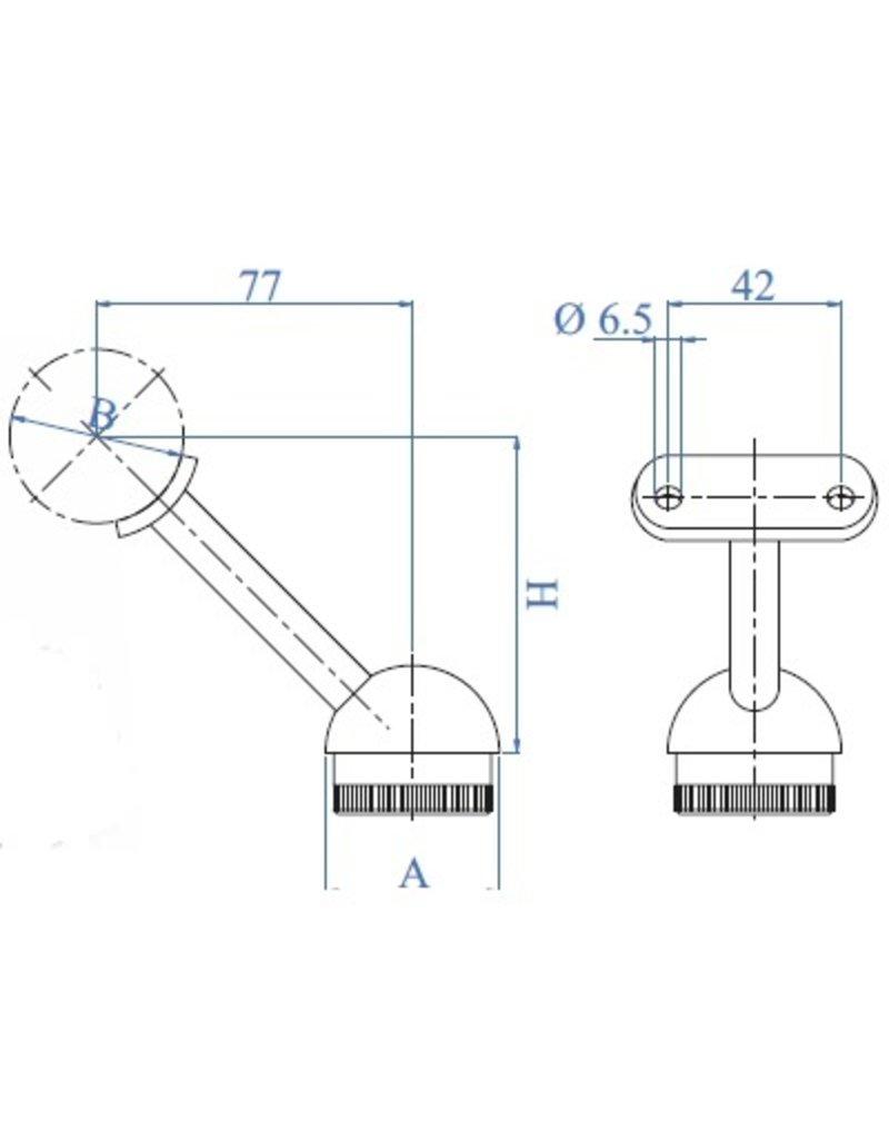 I AM Design Leuningdrager geslepen RVS met schelp voor ronde buis 42.4x2mm