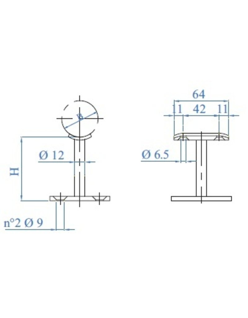 I AM Design Support main courante poli inox avec platine