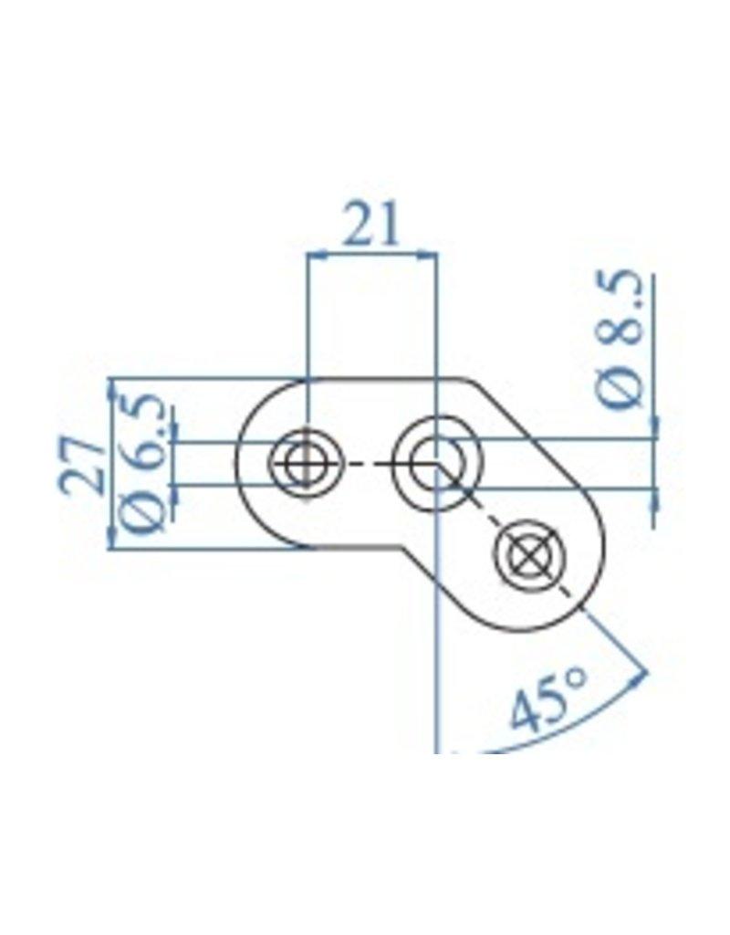 I AM Design Platine de montage 135° poli V2A