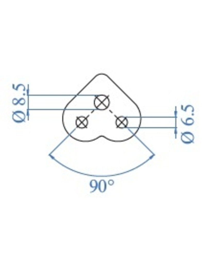 I AM Design Montageplaat 90° geslepen V2A met verzonken boringen
