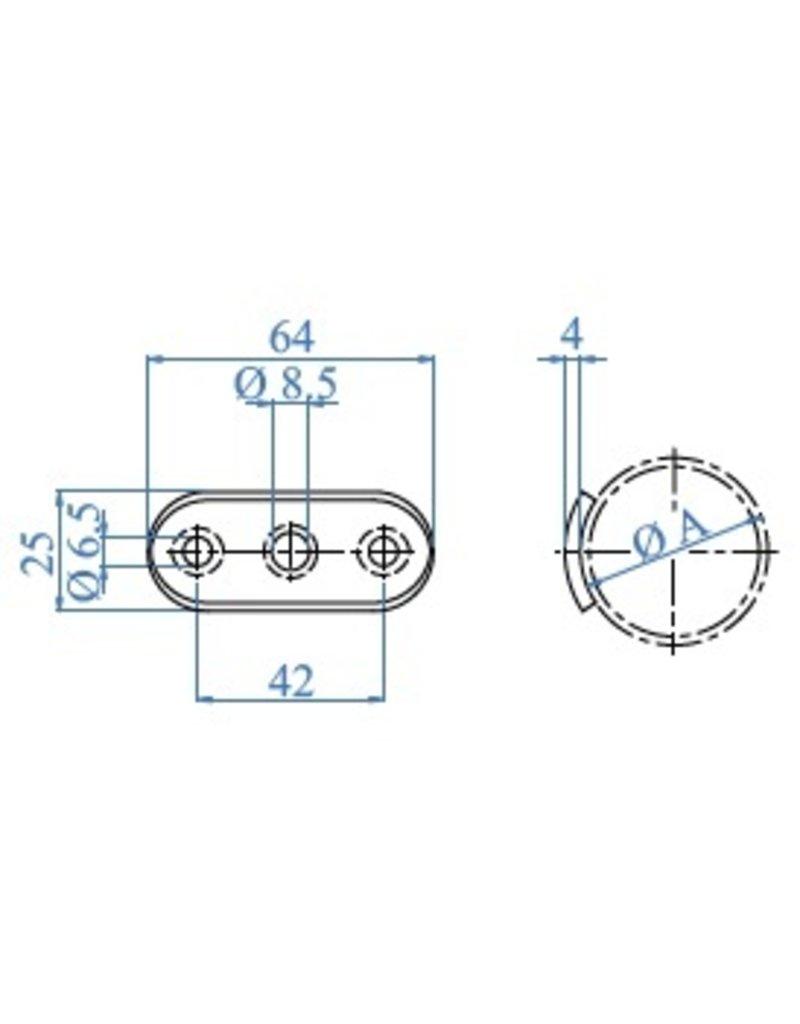 I AM Design Montageplaat geslepen V2A met verzonken gaten