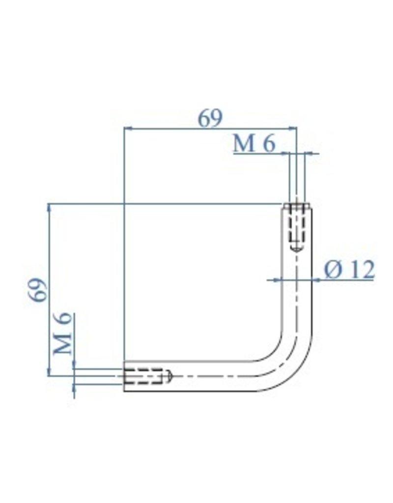 I AM Design Tige pliée 90° V2A dia 12mm filetage  intérieur M6