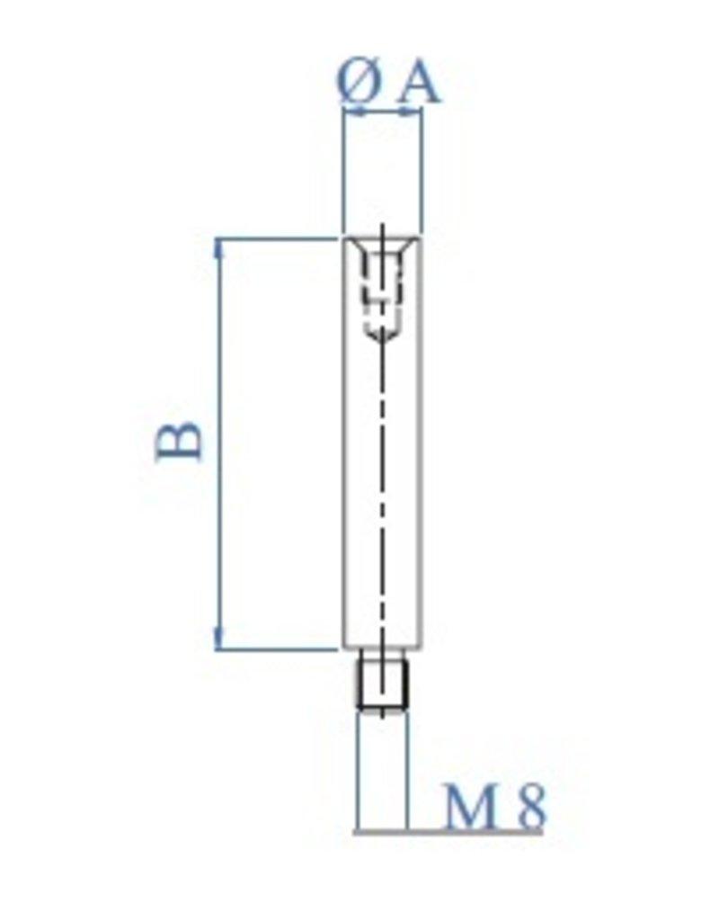 I AM Design Stift geslepen V2A met binnendraad M6 en buitendraad M8x10mm