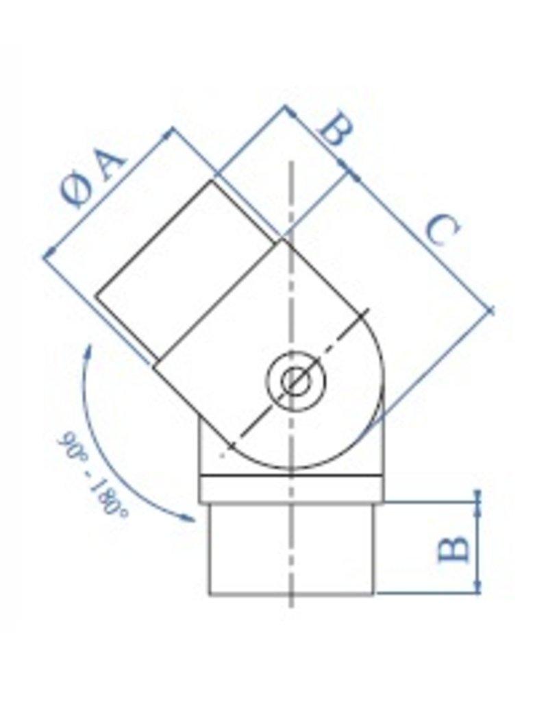 I AM Design Verbindingsstuk verstelbaar geslepen V2A 0°-90° korrel 320