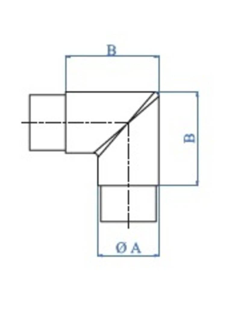 I AM Design Verbindingsstuk geslepen 90° V2A verschillende diameters mogelijk