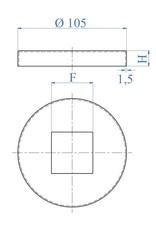 I AM Design Rosaçe poli Ø105mm - 41x41mm