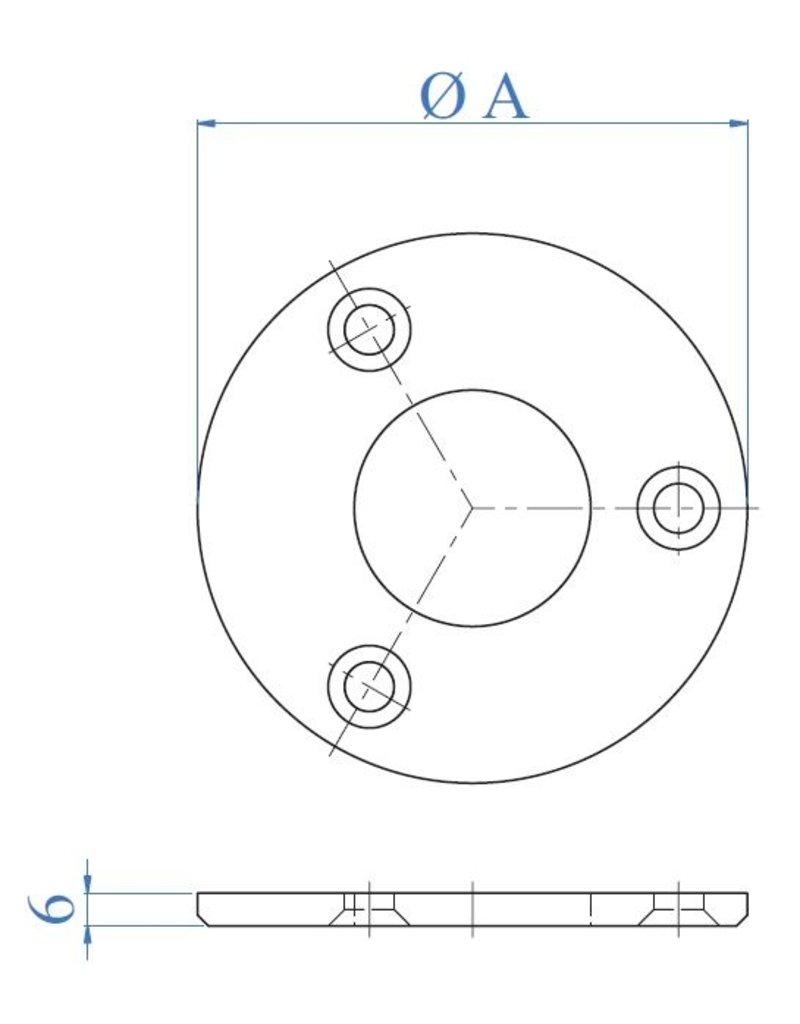 I AM Design Platine de base polie - 3 trous fraisés