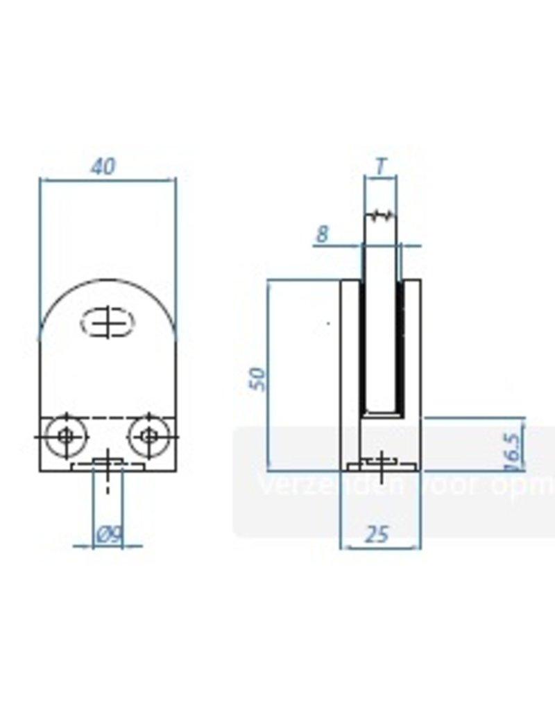 I AM Design Glasklem V2A model 10 - 50x40mm - 33.7mm aansluiting
