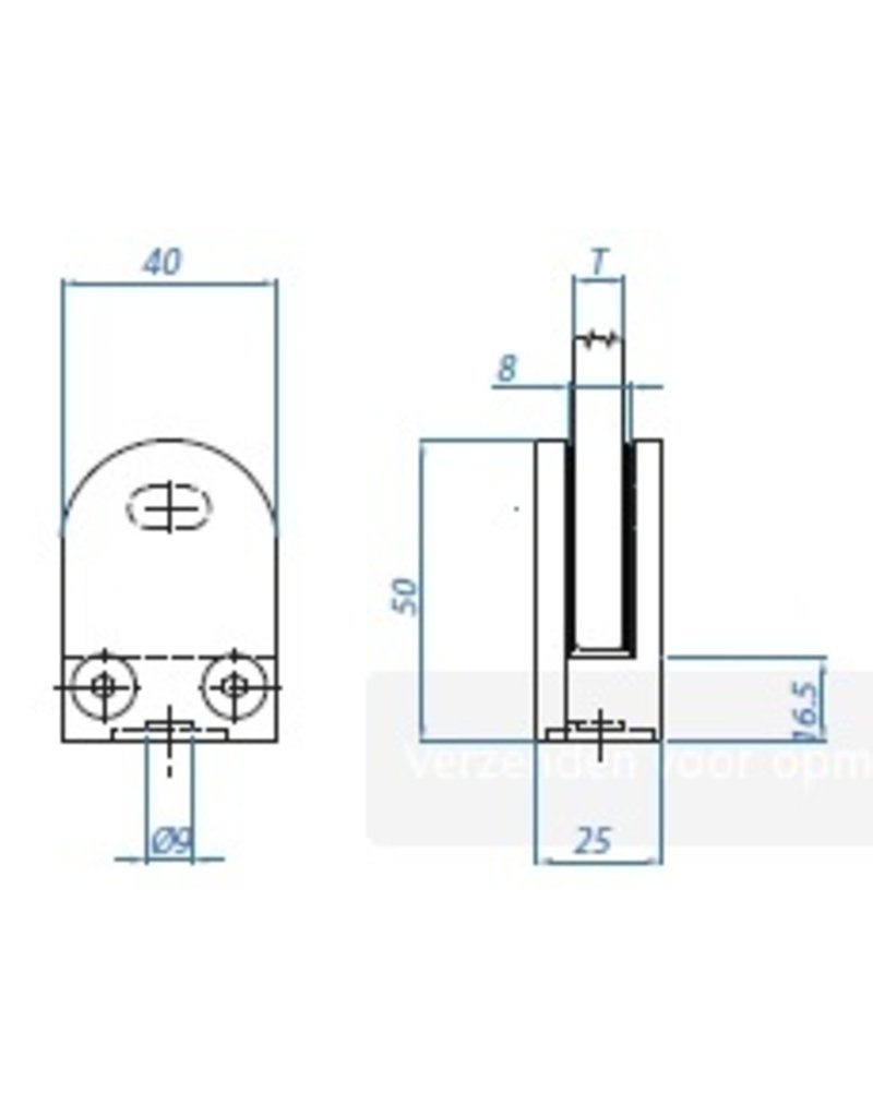 I AM Design Glasklem V2A model 10 - 50x40x25mm - 42.4mm aansluiting