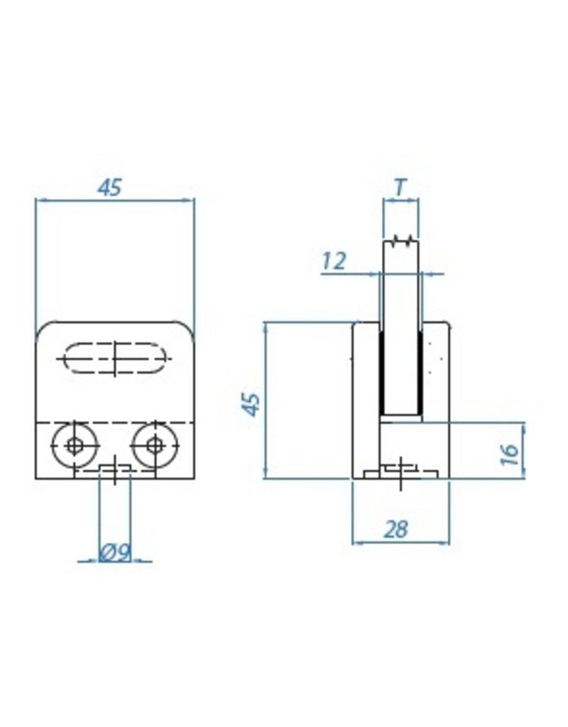 I AM Design Glasklem V2A 45x45x28mm - vlak