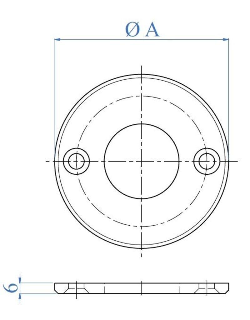 I AM Design Platine de base polie - 2 trous fraisés