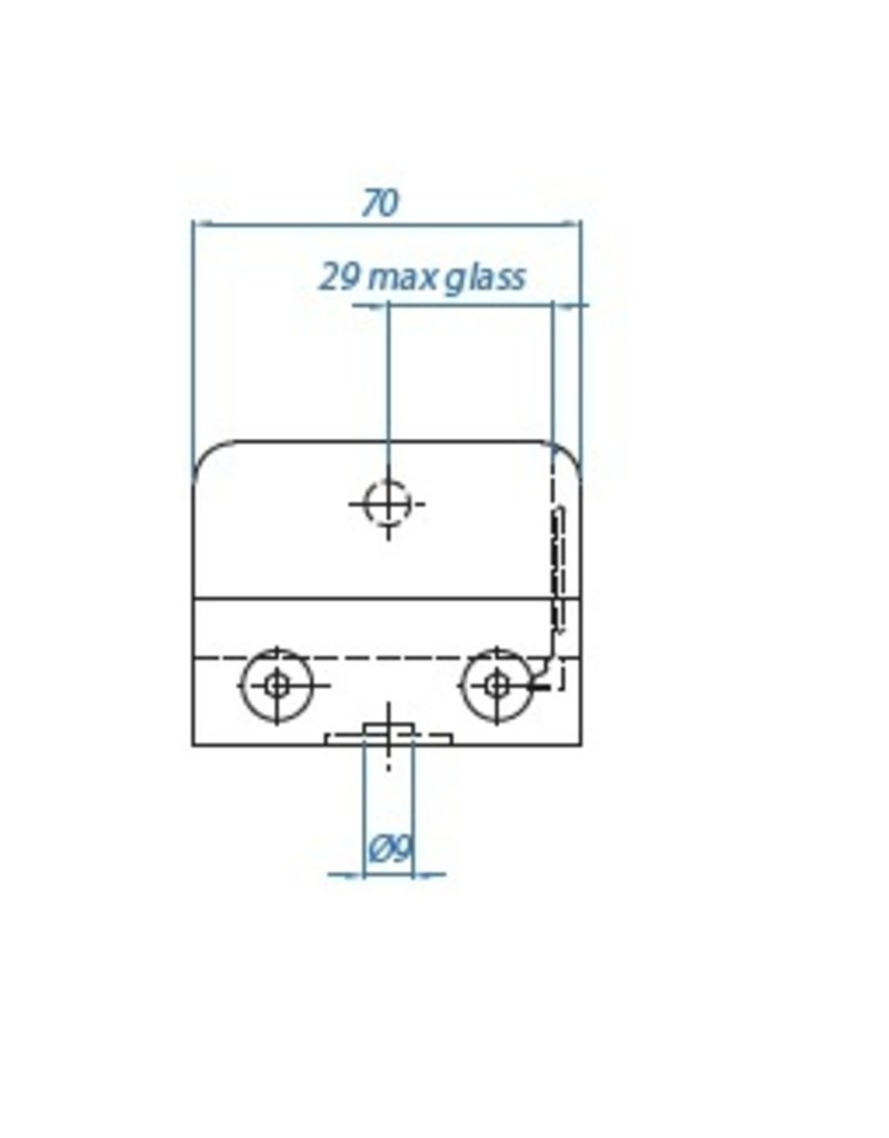 I AM Design Glasklem V2A 70x55x40mm - vlak