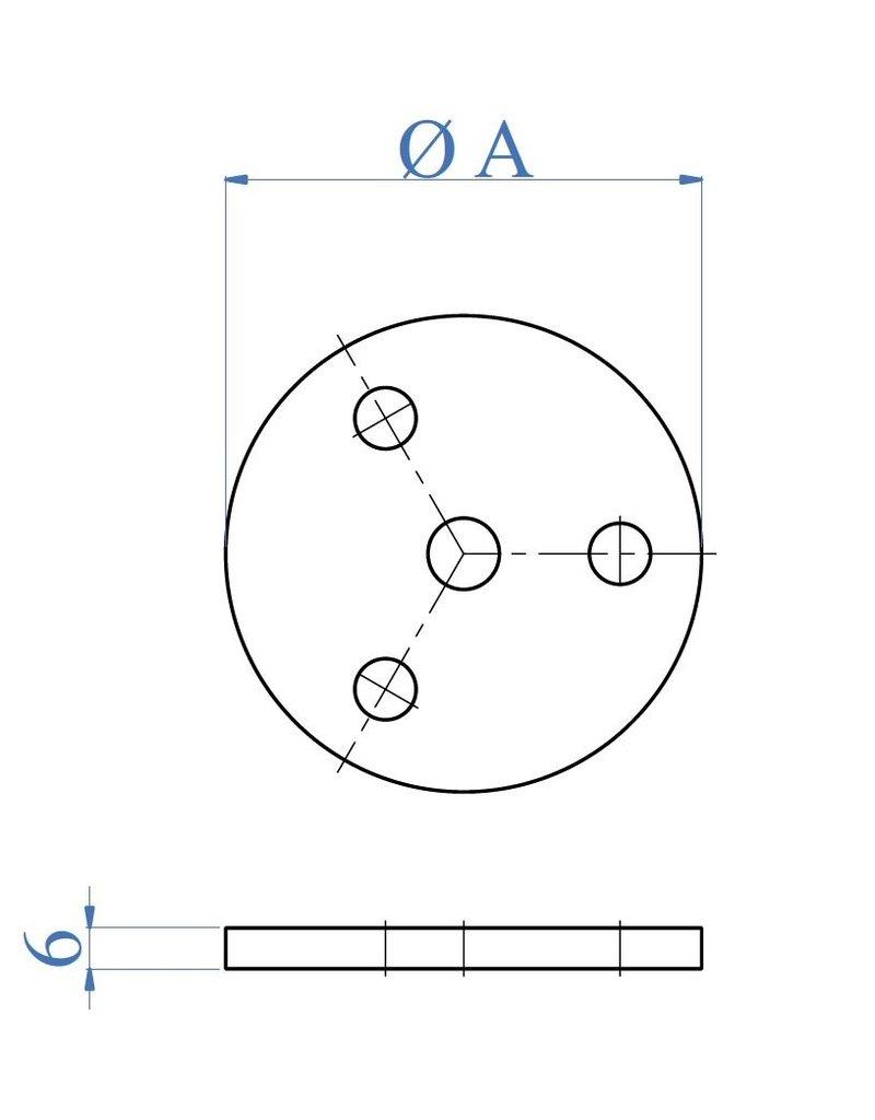 I AM Design Platine de base polie - alésage central Ø10,5mm