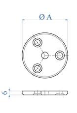 I AM Design Platine de base polie - alésage central Ø10,5mm - 3 trous fraisés