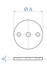 I AM Design Platine de base polie - alésage central Ø10,5mm - 2 trous